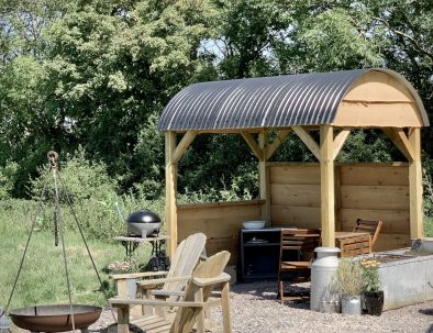 Out door shelter at Farmstead Glamping