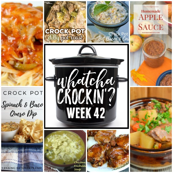 This week's Whatcha Crockin' crock pot recipes include Chicken Enchilada Soup, Chicken Cacciatore, Dilly Crock Pot Roast, Mom's Crock Pot Beef Stew, Crock Pot Hot Bacon and Corn Dip, Slow Cooker Brown Sugar Chicken, Crock Pot Apple Sauce, Crock Pot Spinach and Bacon Queso Dip and much more!