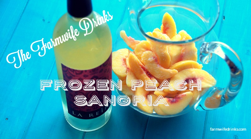 A bag of frozen peaches, a bottle of dry wine with a little vodka and peach schnapps and viola! The best peach sangria recipe. Ever.