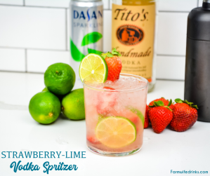 Strawberry Lime Vodka Spritzer is a light and refreshing cocktail recipe with low-sugar content and perfect for someone looking for alcohol options on a low-carb or keto diet.