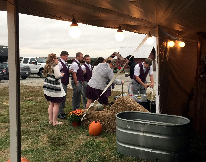 Outdoor farm wedding reception