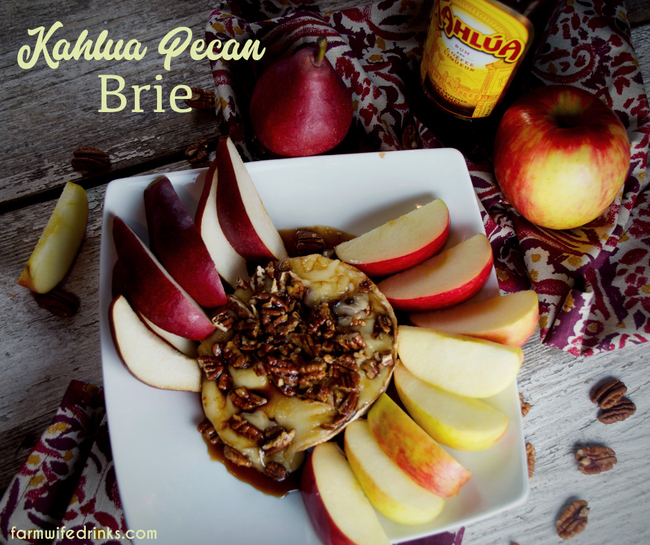 Kahlua Pecan Brie is a simple four-ingredient recipe delivers with this baked Kahlua Pecan Brie. A perfect appetizer or dessert when served with pear and apple slices.