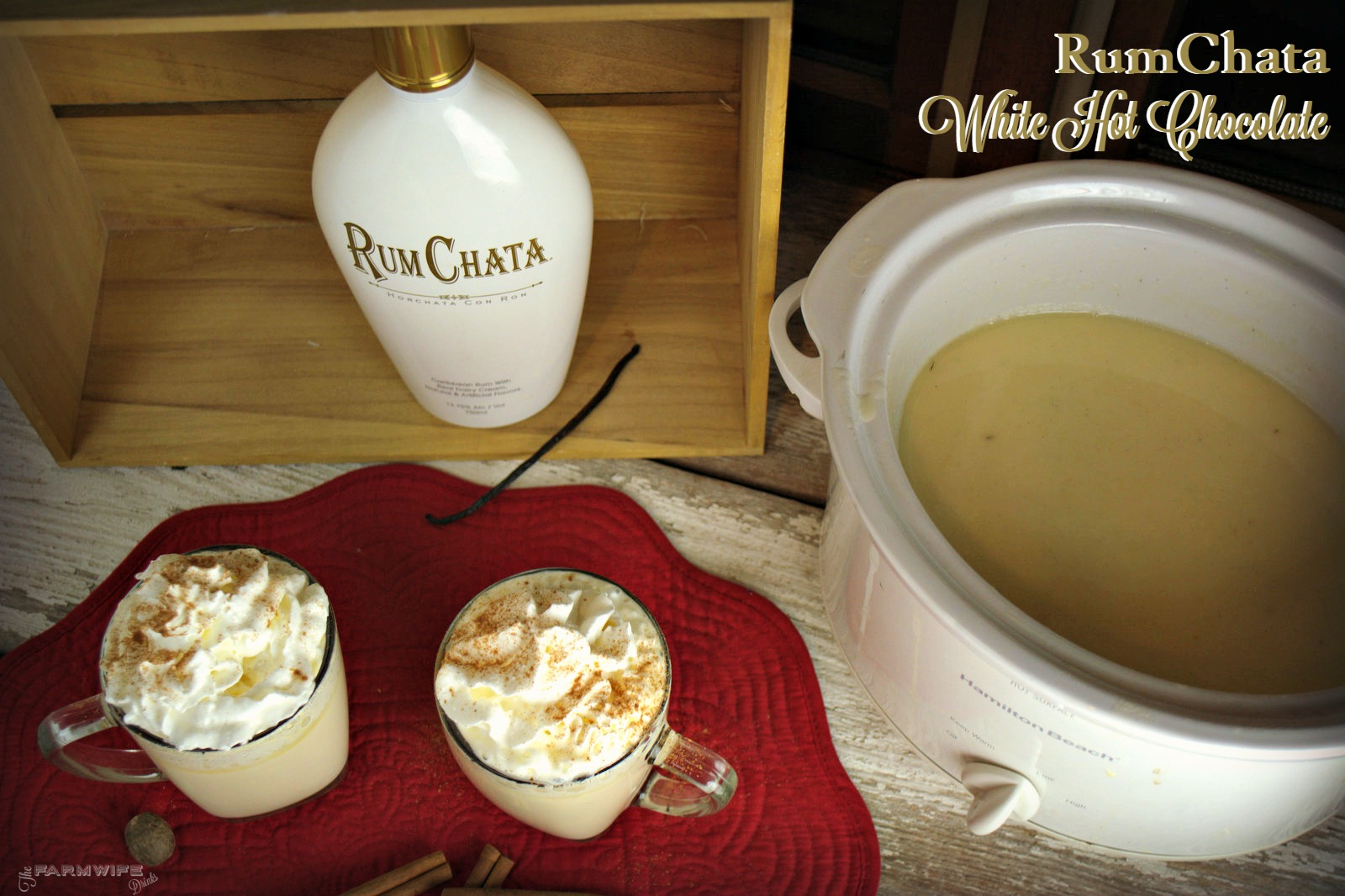 Crock Pot Rumchata White Hot Chocolate is by far the richest, most decadent white hot chocolate I have ever had. Don't want booze in your white hot chocolate, no problem. Just don't add it.