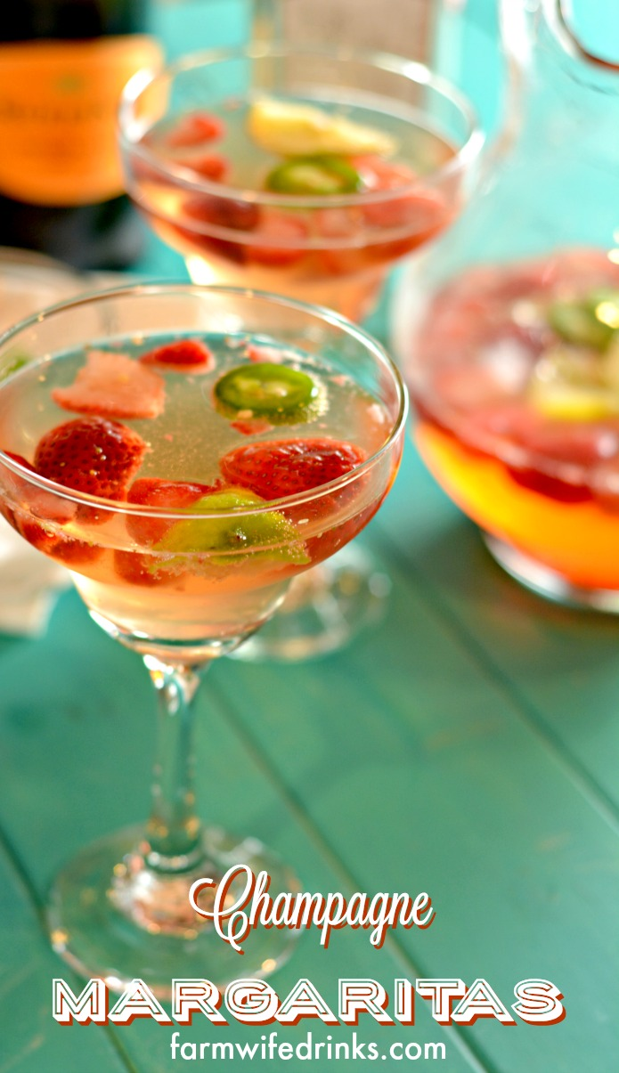 Strawberry and Jalapeno Champagne Margaritas are my go to margaritas on Friday nights or Taco Tuesdays. Simple Spicy Margarita recipe perfect for sharing. #Margaritas #Cocktails #Tequila
