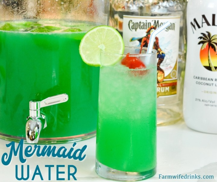 Mermaid water aka boujie fancy swamp water is the perfect spiked punch for summer sipping with the combination of limeade, pineapple juice, Captain Morgan, Malibu, and blue curacao.