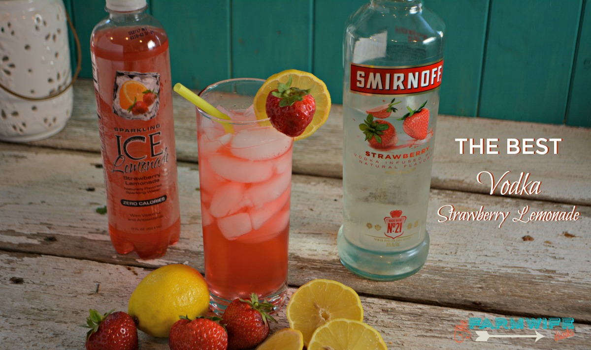 Combining sparkling ice strawberry lemonade with strawberry vodka give you a quick two ingredient cocktail that you can sip on all day long.