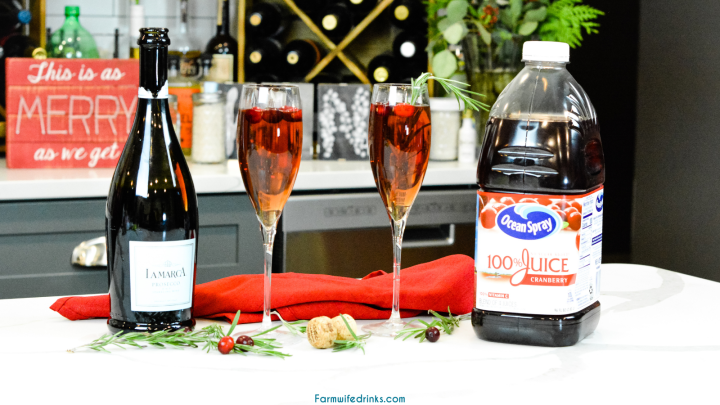 Cranberry mimosas are the alternative to traditional mimosas perfect for Christmas time and are often called the Mistletoe Mimosa.