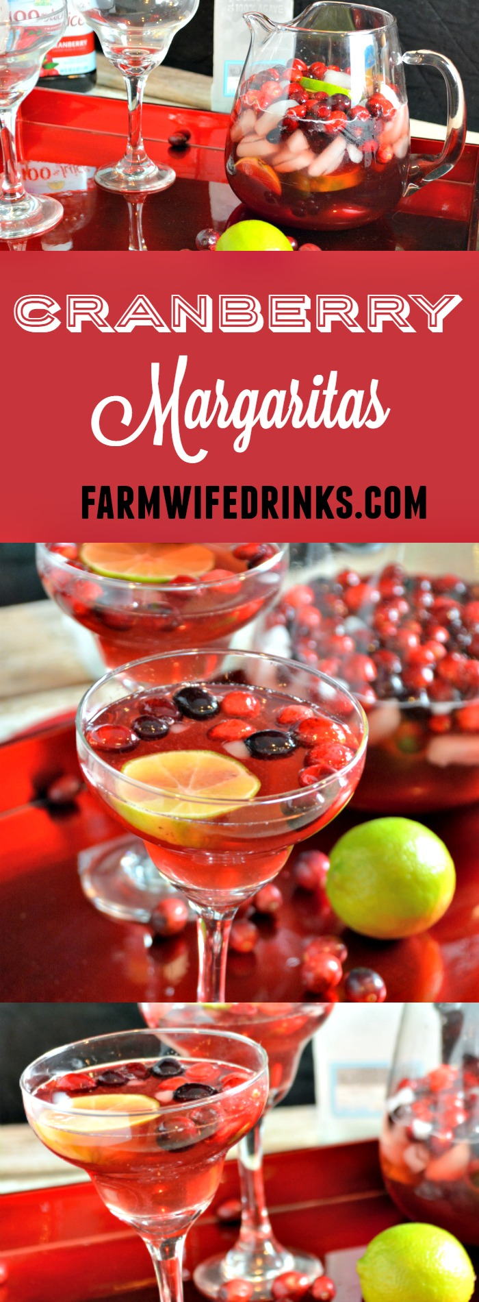 Not your traditional flavor with a pitcher of these cranberry margaritas, but full of tang and tartness in the cranberry that pairs well with silver tequila.