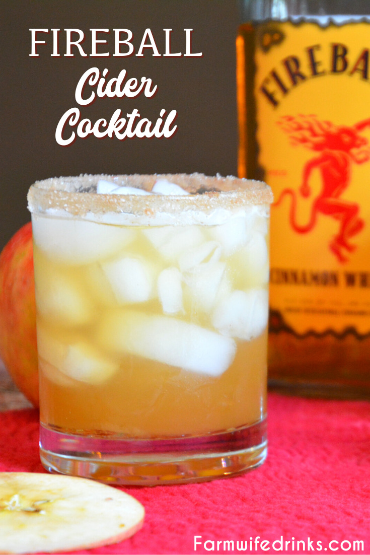 Fireball Cider Cocktail is a simple fall cocktail that can be served on ice or with hot cider with Fireball Whisky to keep you warm around a campfire.