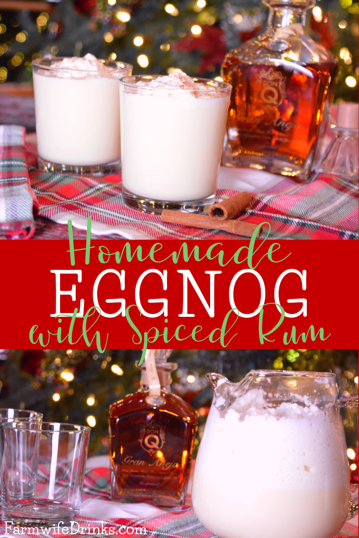 Spiked homemade eggnog is a decadent eggnog recipe made with whipped egg whites, heavy cream, vanilla, and milk that pairs perfectly with spiced rum.
