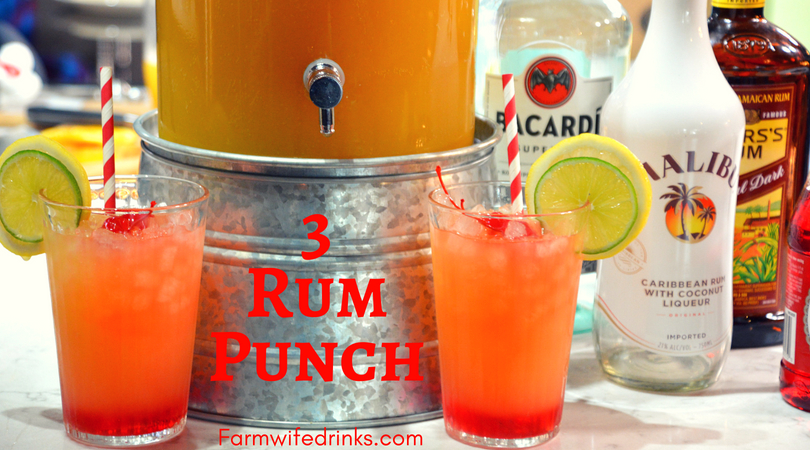 3 rum punch recipe is the sweet combination of pineapple, lime and orange juices with dark, white, and coconut rums to combine for a great party drink.