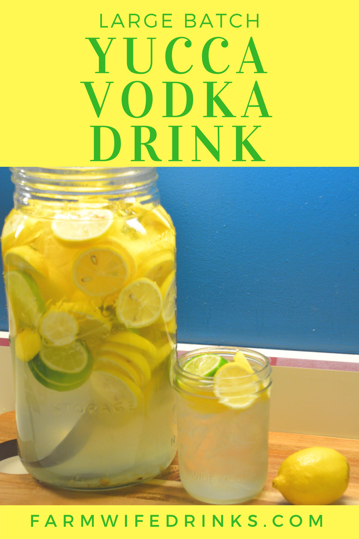 Yucca Drink is the combination of the result of shaking jar fulls of lemons, sugar, ice, and vodka for a sweet, sweet nectar for a large batch vodka drink.