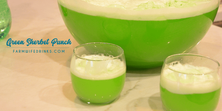 Green sherbet punch is a lime flavored green punch combining lemon-lime Kool-Aid, pineapple juice and sprite with lime sherbet for a fun and flavorful drink.