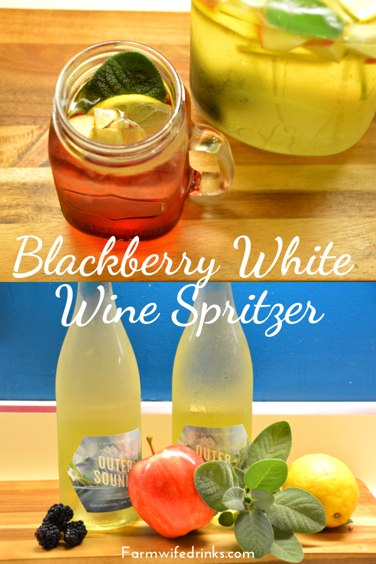 Blackberry white wine spritzer that was full of sage, lemon, apple, and blackberry flavors for a great crisp cocktail. #Wine #WhiteWine #WineSpritzer #Blackberries