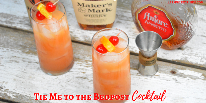 Tie me to the bedpost cocktail combines whiskey, vodka, and amaretto and then is topped off with orange juice and grenadine.#Whiskey #Amaretto #Vodka #Cocktail