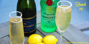 The French 75 is a combination of lemon juice, simple syrup and gin topped off with prosecco. #Prosecco #CocktailRecipe #Cocktails #French75 #Gin