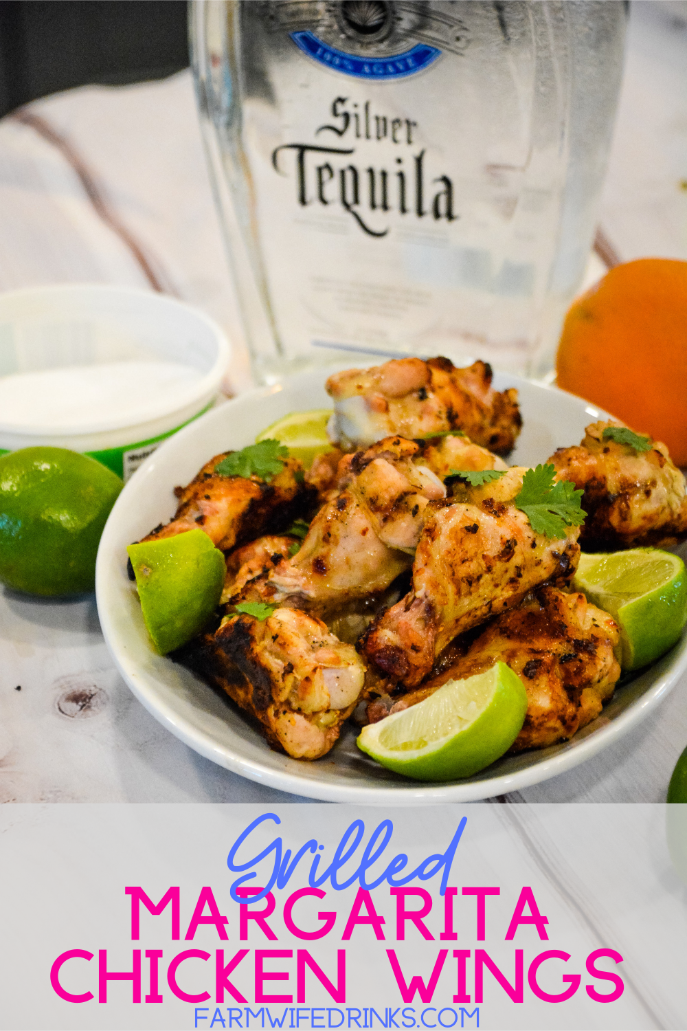 Grilled Margarita Chicken Wings are marinated in tequila, lime and orange juices, chipotle seasoning and salt and then grilled or smoked to perfection.