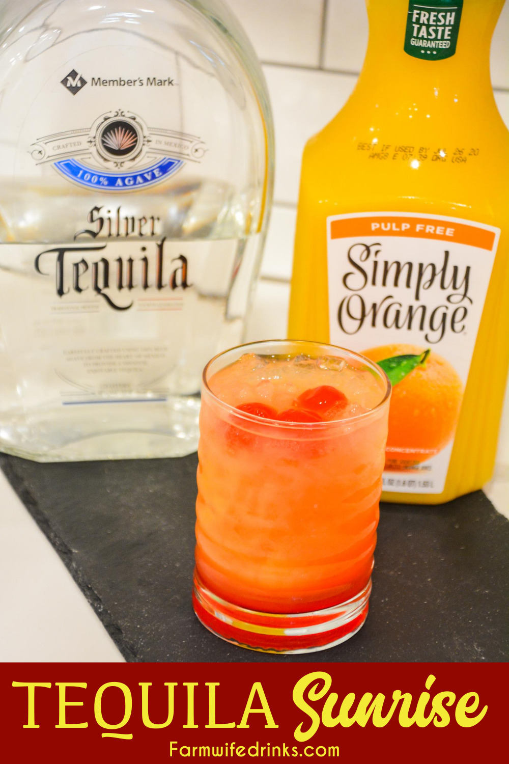 Tequila Sunrise is an orange juice and tequila cocktail made smooth with the addition of cherries and grenadine made famous in the 70s by Mick Jagger.