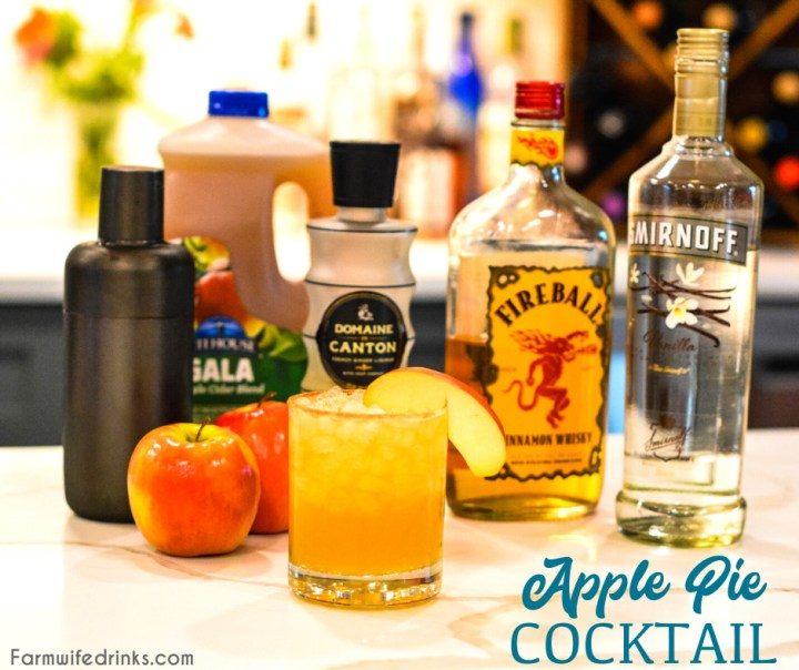 Apple pie cocktail is an apple cider cocktail combined with vanilla vodka, Fireball whisky, and ginger liquor for a the liquid version of the American favorite, apple pie.