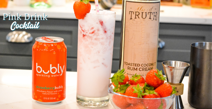 Strawberry Coconut Cream Rum Cocktail – Pink Drink Cocktail