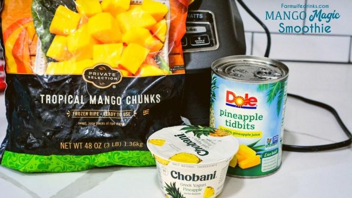 Mango Magic Smoothie Ingredients - Frozen Mango, pineapple, greek yogurt