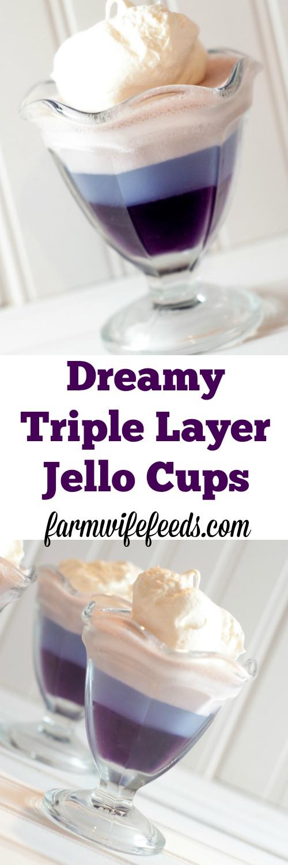 Dreamy Triple Layer Jello Cups-super simple and makes everyone smile!
