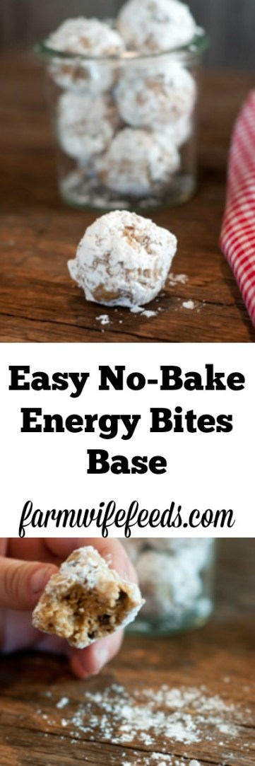 No-bake Energy Bite recipes are all the rage right now, so of course I jumped on the band wagon! This is my East No-Bake Energy Bites Base recipe that you can customize to your tastes!