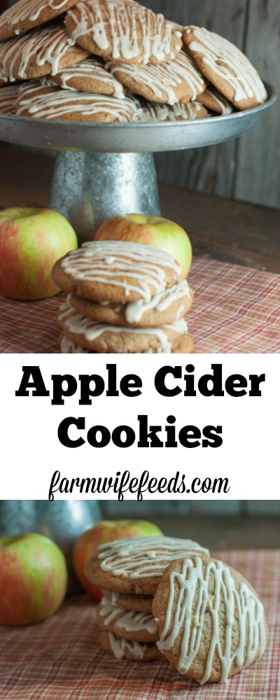 Apple Cider Cookies from Farmwife Feeds, chunks of fresh apple, apple cider, cinnamon - perfect fall cookie #recipe #apple #fall #cookie