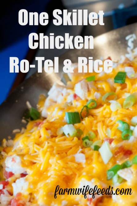 One Skillet Chicken Ro-Tel and Rice from Farmwife Feeds is a full meal in one pan or skillet your family will love. #onepan #oneskillet #chicken #rice #rotel #recipe