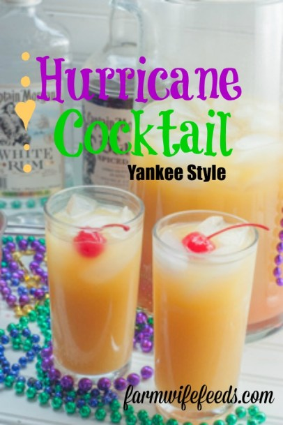 Hurricane Cocktail Yankee Style from Farmwife Feeds is a super easy Mardi Gras drink to make when you can't be in New Orleans but want the atmosphere. #mardigras #fattuesday #cocktail #hurricane