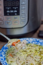 Instant Pot Homemade Chicken Noodle Soup from Farmwife Feeds is a one pot wonder that will warm you from the inside out! #chicken #soup #instantpot #homemade