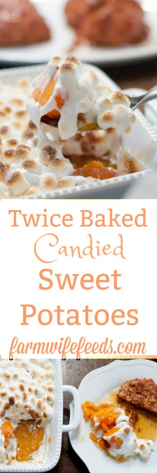Twice Baked Candied Sweet Potatoes from Farmwife Feeds, sweet delicious potatoes will have even the pickiest eaters loving them #sweetpotatoes #recipe #yams