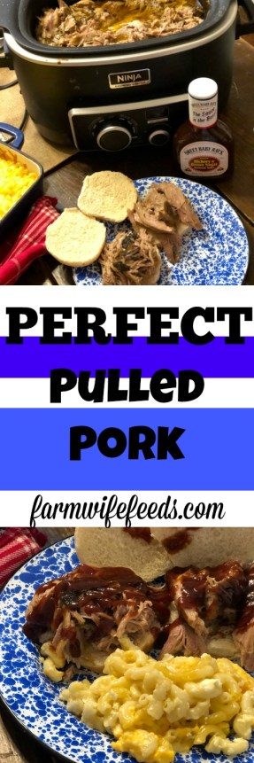 Perfect Pulled Pork from Farmwife Feeds is an easy crock pot fall apart recipe. #pork #crockpot #recipe #BBQ