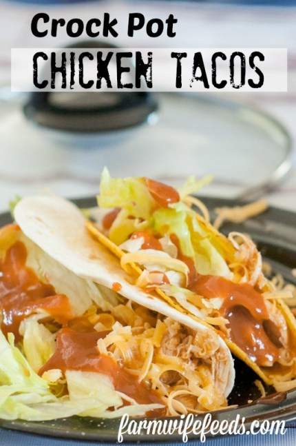 Crock Pot Chicken Tacos from Farmwife Feeds is super easy meal when you forgot to plan or as part of the plan! #chicken #crockpot #mexican
