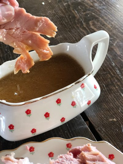 Crockpot Ham with Maple Gravy from Farmwife feeds, delicious moist ham everyone will love! #ham #pork #crockpot #slowcooker