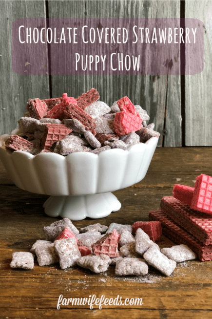 Chocolate Covered Strawberry Puppy Chow from Farmwife Feeds is a fun twist using cake mix and sugar wafters. #valentine #puppychow #strawberry #chexmix