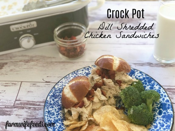 Crock Pot Dill Shredded Chicken Sandwiches from Farmwife Feeds is a simple dinner ready when you get home! #dill #sandwich #chicken #easyrecipe #crockpot
