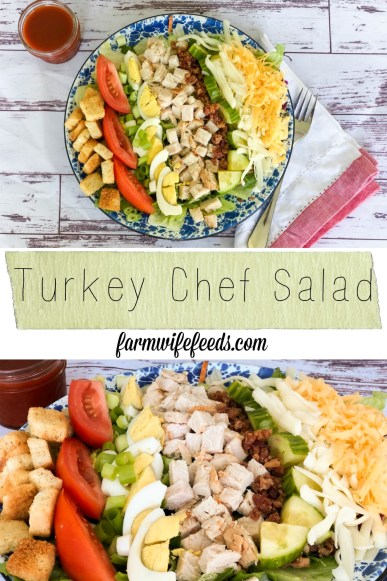 Turkey Chef Salad from Farmwife Feeds is a great use of leftover turkey for an easy healthy meal. #turkey #recipe #salad