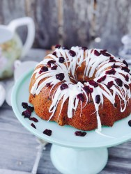 White Chocolate Cranberry Sour Cream Cake from Farmwife Feeds is a decadent treat for any occasion. #coffeecake #recipe #cake