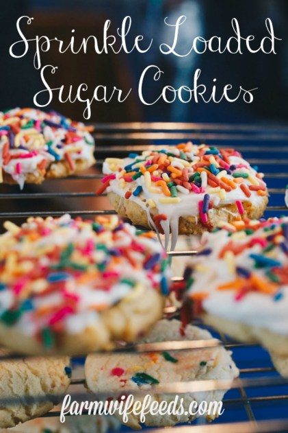 Sprinkle Loaded Sugar Cookies from Farmwife Feeds are a classic drop sugar cookie that are easy to make and easy to eat! #sugarcookies #cookies #sprinkles #recipe