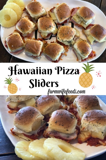 Hawaiian Pizza Sliders from Farmwife Feeds are any easy sandwich full of classic Hawaiian pizza flavor. #hawaiianpizza #sliders #appetizer