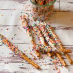 Funfetti White Chocolate Dipped Pretzels