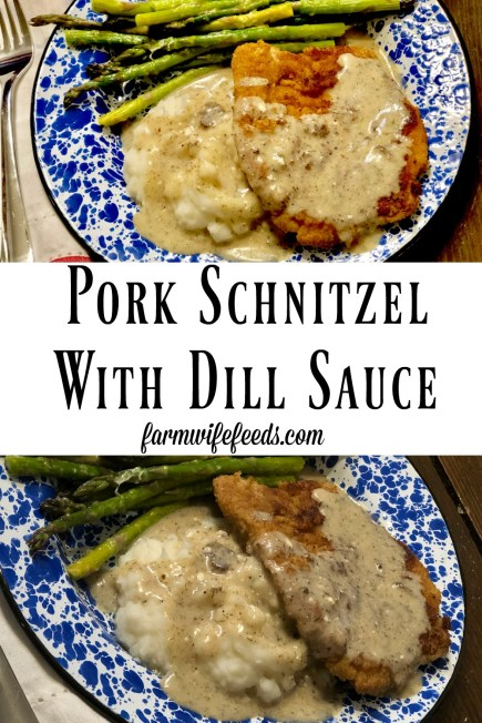 Pork Schnitzel with Dill Sauce is a great way to take pork tenderloins to the next level with an easy recipe. #pork #castiron #schnitzel