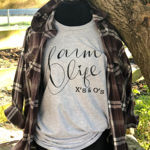 Farm Life X's and O's signature logo in a crew neck tee!