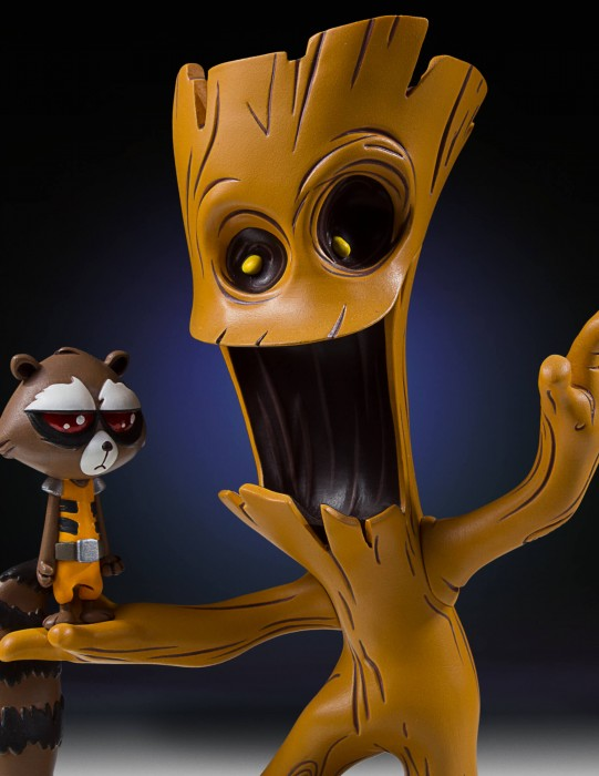 Rocket e Groot da Gentle Giant com traços de Skottie Young
