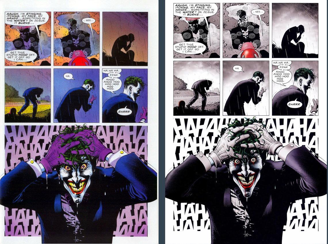 Quadrinhos clássicos devem ser recoloridos - A Piada Mortal - Batman