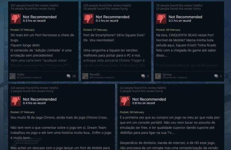 O desastre de Chrono Trigger na Steam