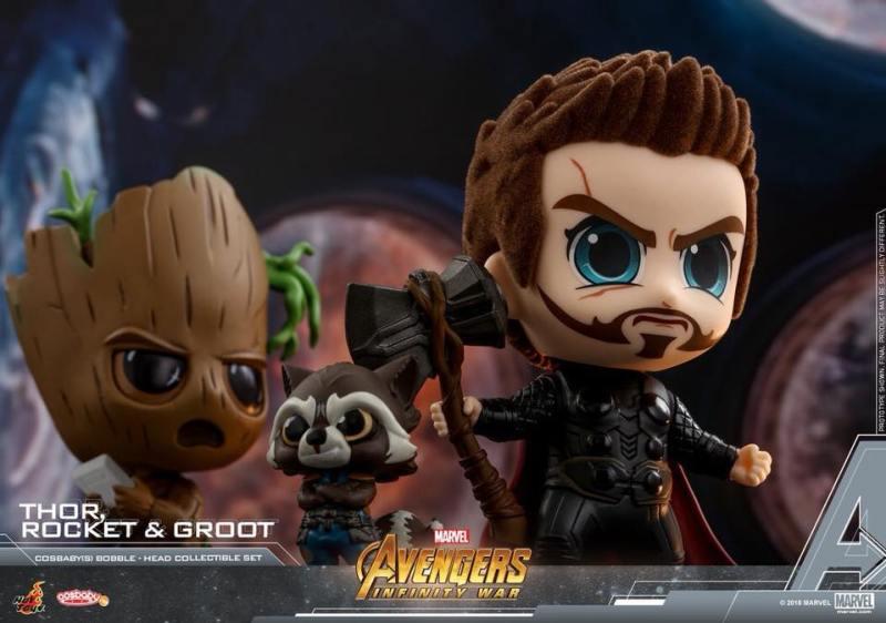 Cosbabys de Guerra Infinita - Rocket, Groot e Thor