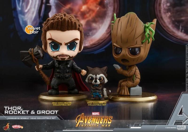 Cosbabys de Guerra Infinita - Thor, Rocket e Groot