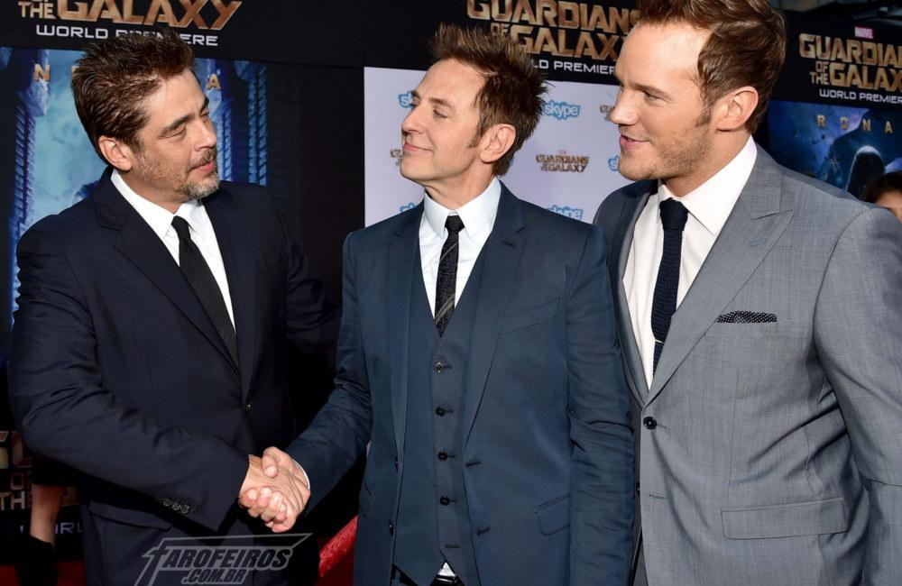 Redenção de James Gunn - Benicio Del Toro, James Gunn e Chris Pratt - FAROFEIROS COM BR
